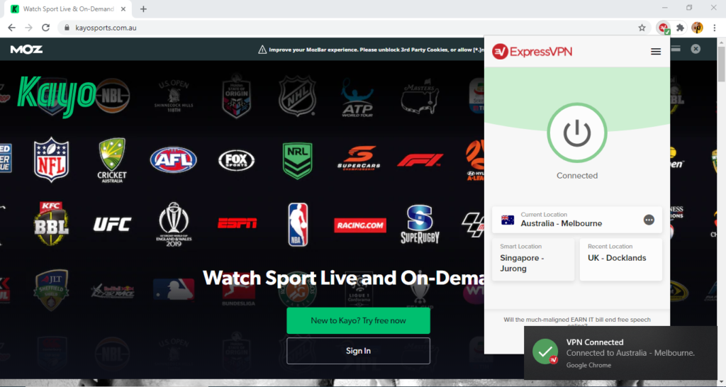 ExpressVPN-unblocks-Kayo-Sports-outside-Australia