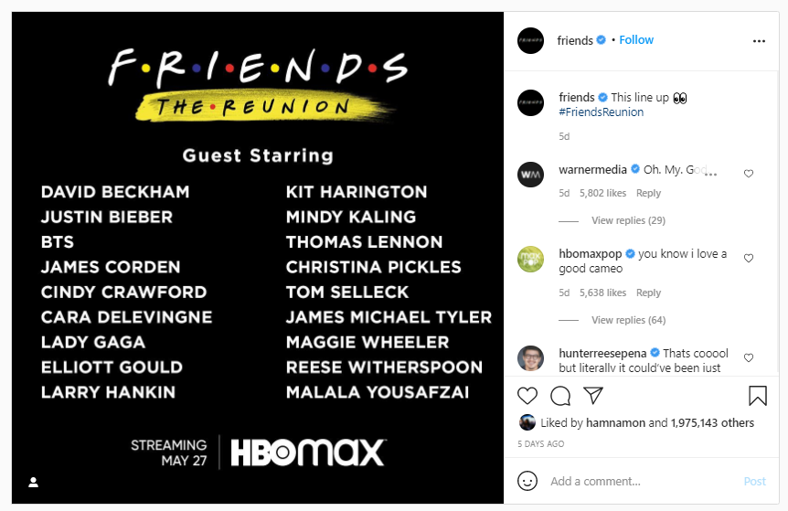 Friends:The reunion cast according to instagram