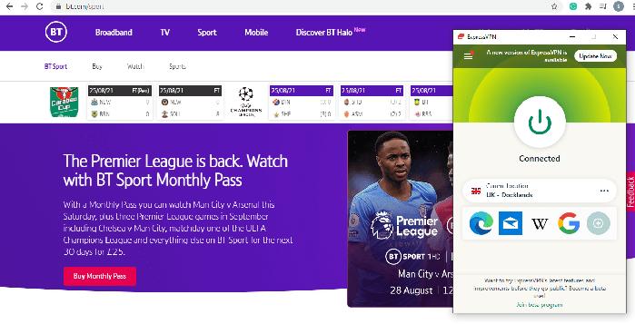 BT sports ExpressVPN screenshot