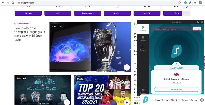 BT sports Surfshark Screenshot