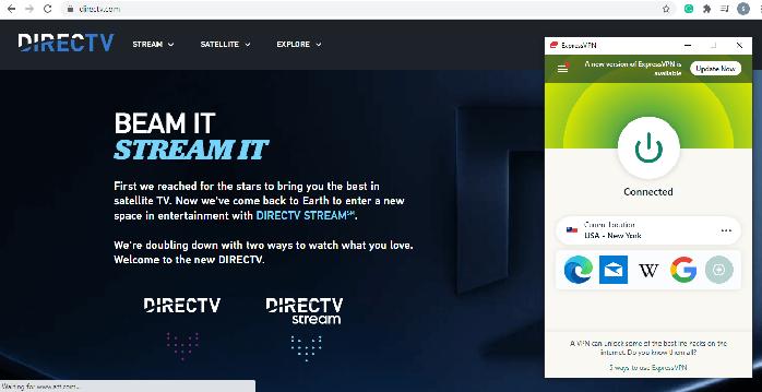 DirecTV ExpressVPN Screenshot