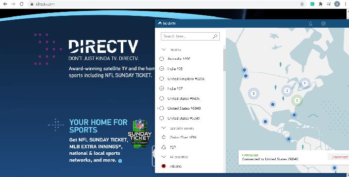 DirecTV NordVPN screenshot