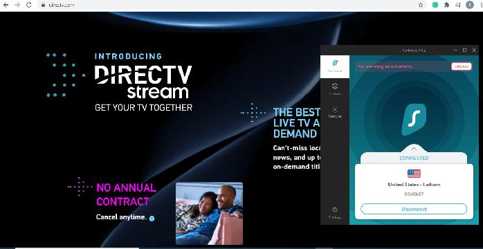 Surfshark DirecTV screenshot